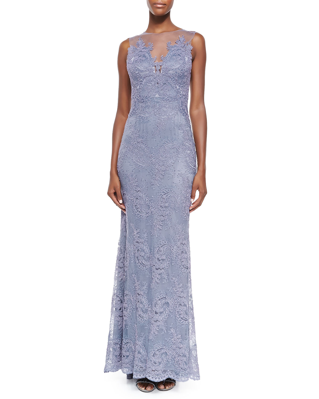 Zuri Sleeveless Lace Appliqué Gown