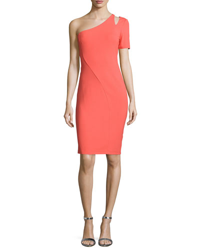 One-Sleeve Cutout Sheath Dress, Tangelo