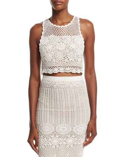 Izzie Sleeveless Crochet Crop Top, Cream