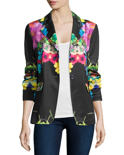 Flower Pop Two-Button Jacket, Plus Size
