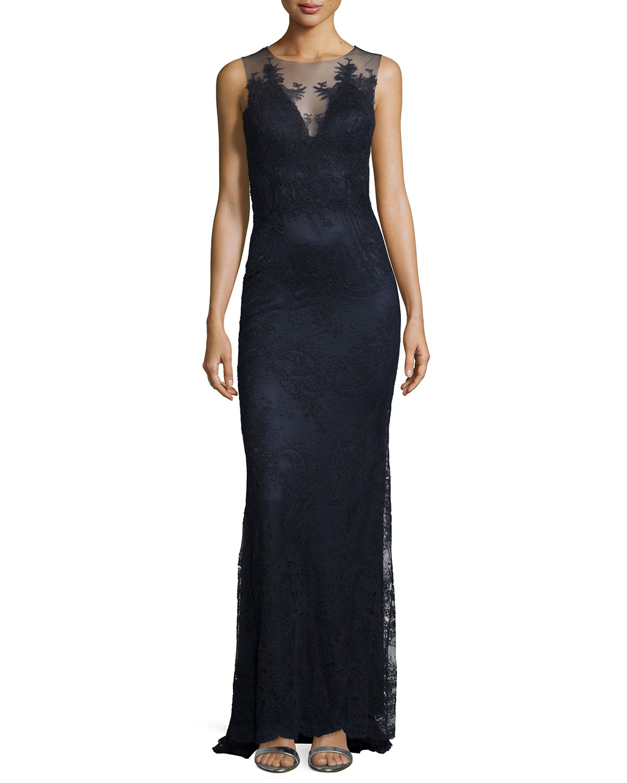 Sleeveless Lace Column Gown, Midnight Navy