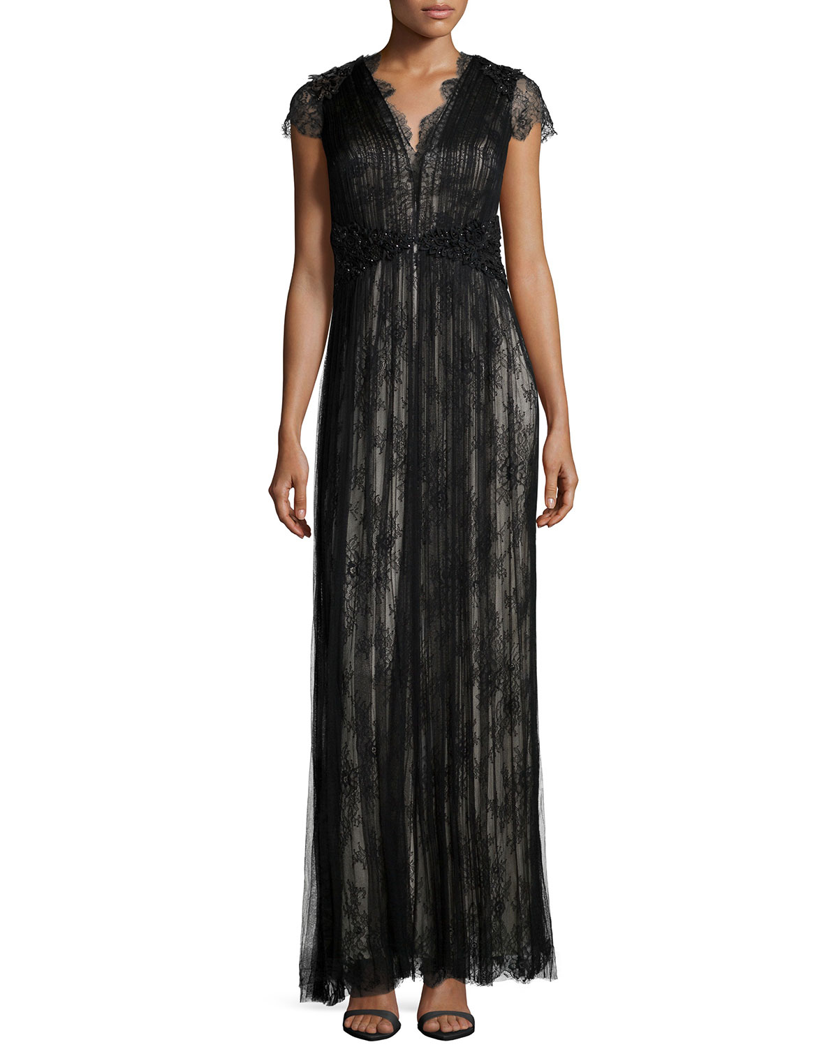 Short-Sleeve Lace Gown, Black/Silver