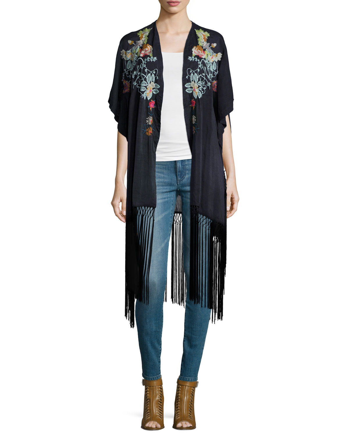 Argent Embroidered Kimono with Fringe Hem