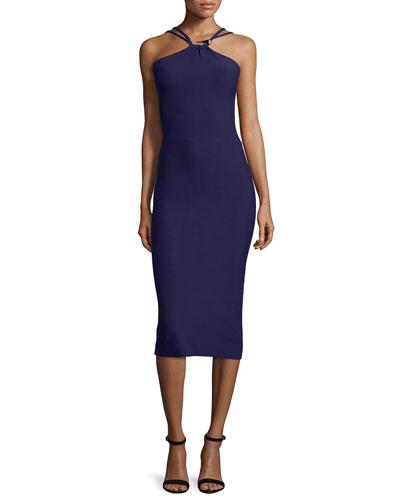 Halter-Neck Sweater Dress W/Cutouts, Aubergine