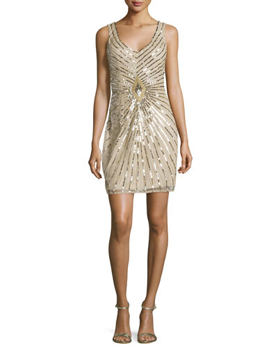 Sleeveless Linear-Beaded Cocktail Dress, Champagne