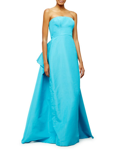 Strapless Pleated-Back Gown, Aqua