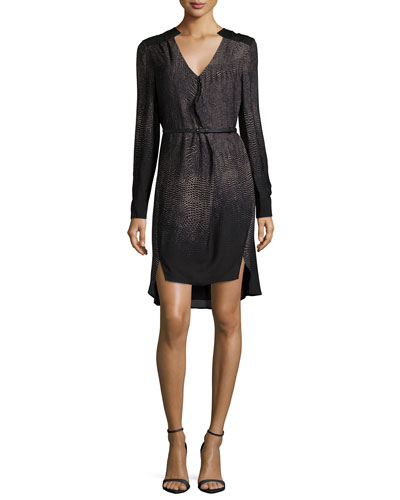 Long-Sleeve Belted Shirtdress, Black Print
