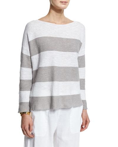 Long-Sleeve Striped Box Top