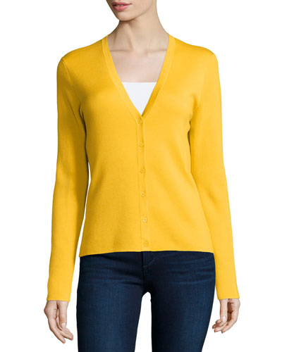 Button-Front Cashmere Cardigan, Daffodil