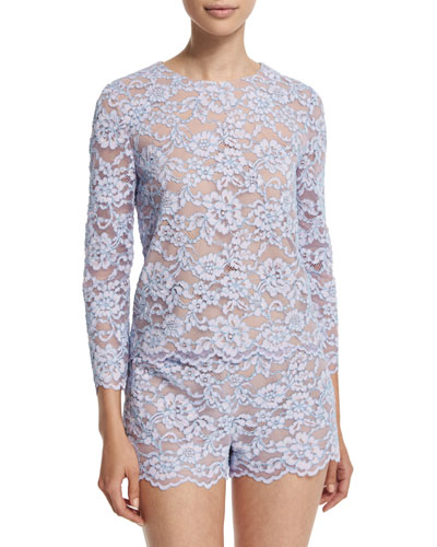 Belle 3/4-Sleeve Lace Top, Lilac