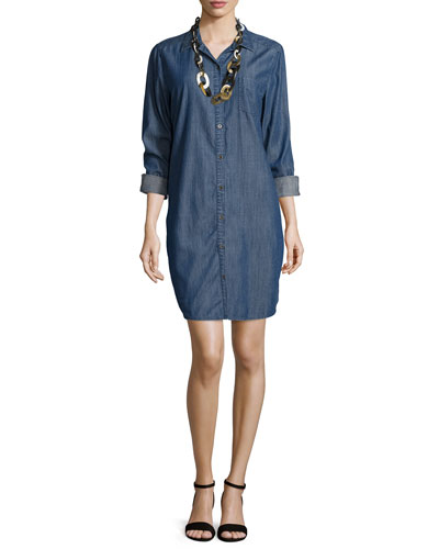 Long-Sleeve Denim Shirtdress