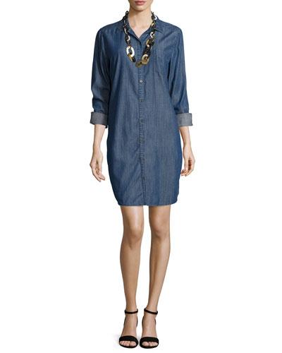 Long-Sleeve Denim Shirtdress, Plus Size