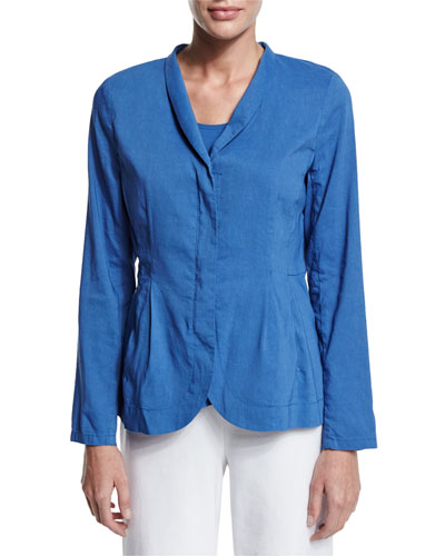 Shawl-Collar Peplum Jacket, Blue, Petite
