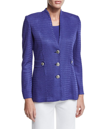 Textured Gold-Button Jacket, Storm, Petite