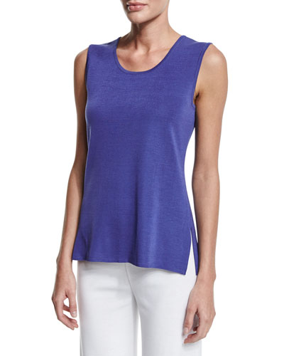 Scoop-Neck Knit Tank, Storm, Petite