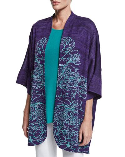 3/4-Sleeve Floral-Print Jacket, Plus Size