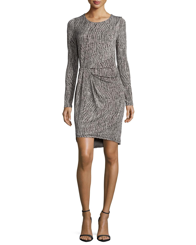 Long-Sleeve Faux-Wrap Dress, Gray Wave