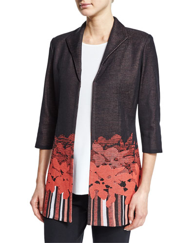 3/4-Sleeve Border-Print Jacket, Plus Size