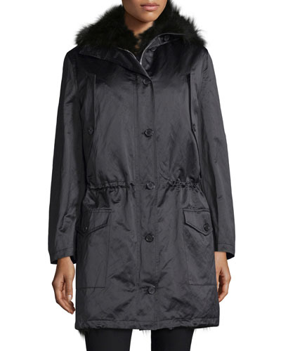 Button-Front Anorak Jacket W/Fur Hood, Black