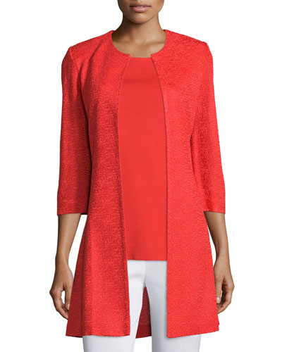 3/4-Sleeve Long Textured Jacket
