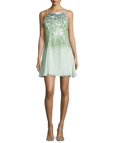 Sleeveless Sequined Dress, Pistachio