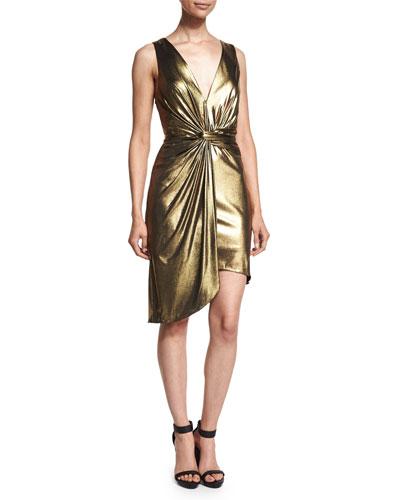 Sleeveless Twist-Front Metallic Dress, Yellow Gold
