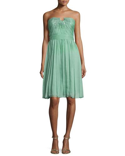 Strapless Chiffon Dress, Meadow