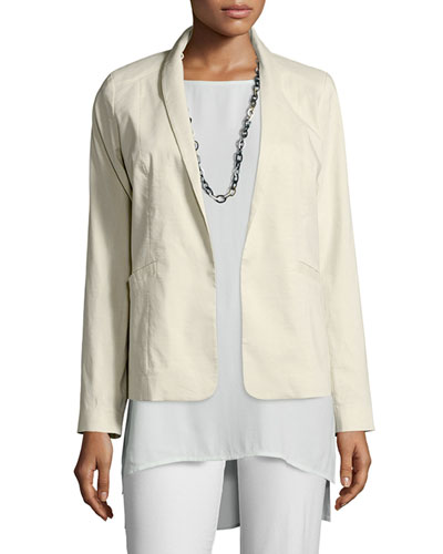 Polished Ramie Stretch Jacket, Bone