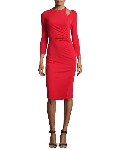 Long-Sleeve Ruched Sheath Dress