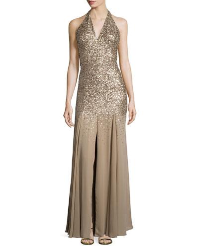 Halter-Neck Embellished Gown, Gold