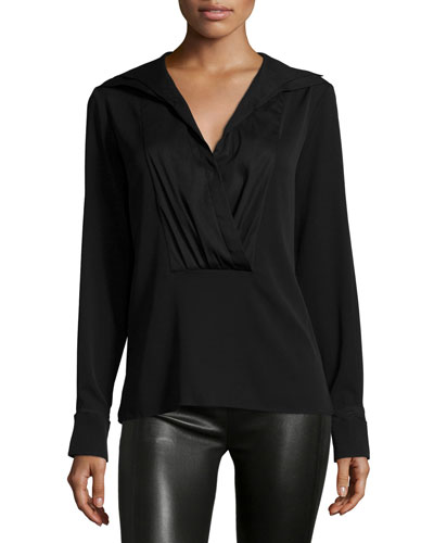 Long-Sleeve Pleated-Front Shirt, Black