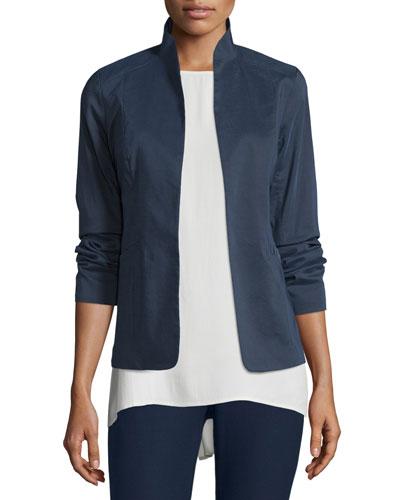 Polished Ramie Stretch Jacket, Midnight, Plus Size