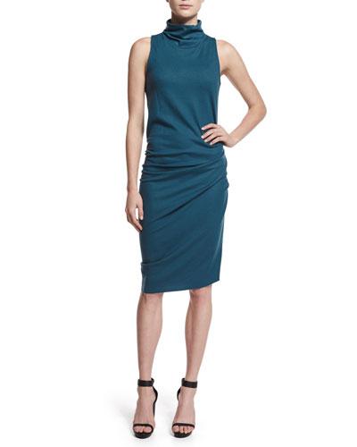 Sleeveless Ruched Turtleneck Dress, Star Gazer