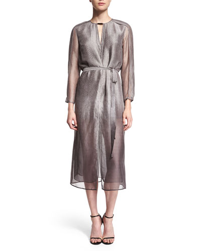 3/4-Sleeve Belted Shirtdress, Gravel Print