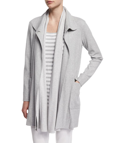 Long Cotton Interlock Jacket, Plus Size