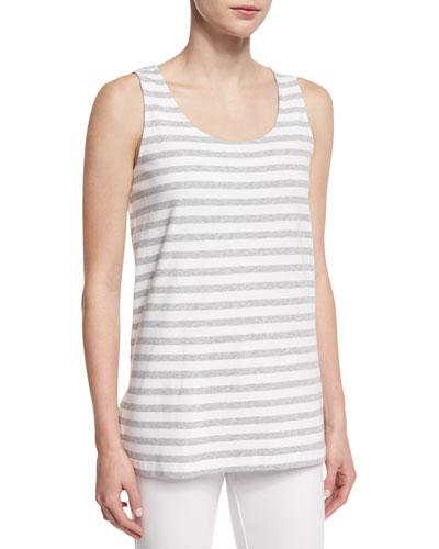 Striped Long Cotton Shell, Petite