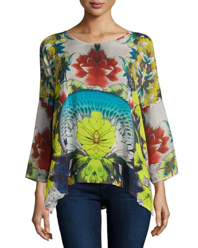 Barra Floral-Print Flutter Blouse