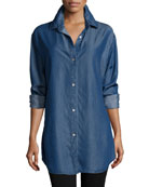 Long-Sleeve Button-Front Denim Shirt, Petite
