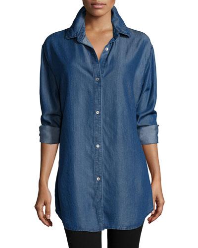 Long-Sleeve Button-Front Denim Shirt, Petite