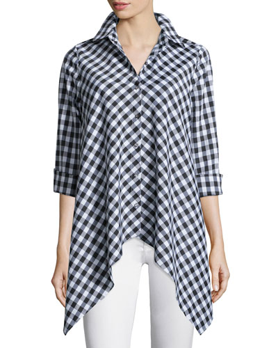 Drama Gingham Handkerchief Shirt, Plus Size