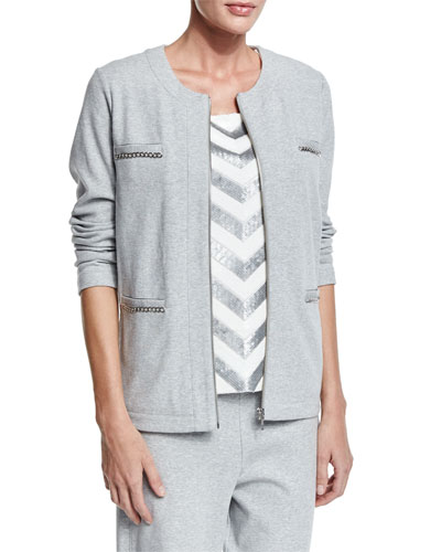 Four-Pocket Interlock Jacket, Petite