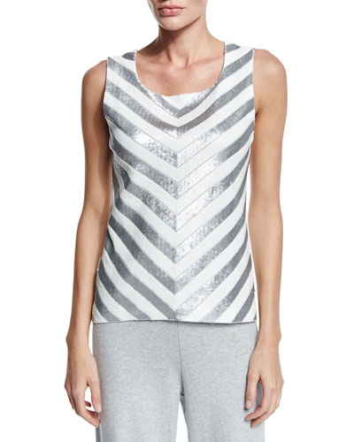 Chevron Sequined Shell, Plus Size