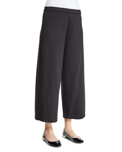 Easy Wide-Leg Ankle Pants, Black