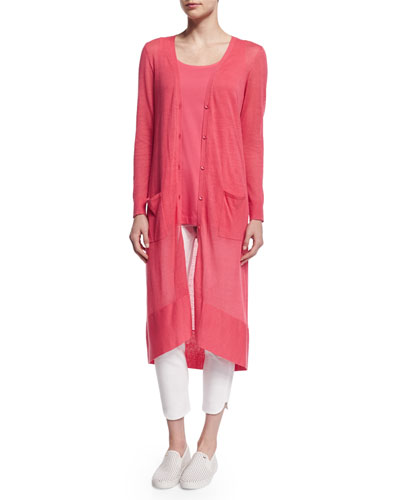 Long Sheer Button-Front Cardigan, Strawberry, Petite