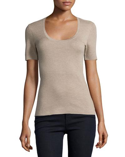 Short-Sleeve Cashmere Top, Bison