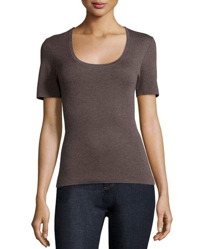 Short-Sleeve Cashmere Top, Chestnut