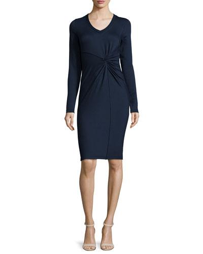 Kyle Long-Sleeve Twist-Front Dress