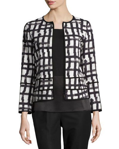 Aisha Grid-Print Jacket, White/Multi
