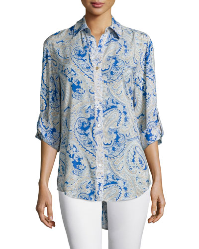 3/4-Sleeve Button-Front Printed Shirt, Blue Multi