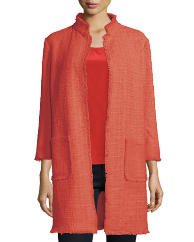 3/4-Sleeve Tweed Topper Coat, Coral